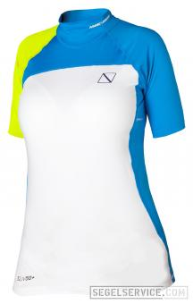 Magic Marine Damen-Stretchtop ENERGY RASH VEST (Kurzarm), blau-gelb-weiß [::Abverkauf::]