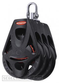 Ronstan Orbit-Block Series 55, 3-scheibig, Hundsfott, Wirbelschäkel-Top