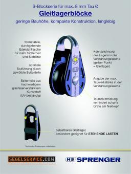 Sprenger 8mm-Block S-Serie (Gleitlager), 1-scheibig, Hundsfott, Bügel
